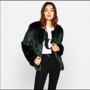 Bershka Faux Fur Short Jacket in Forest Green
